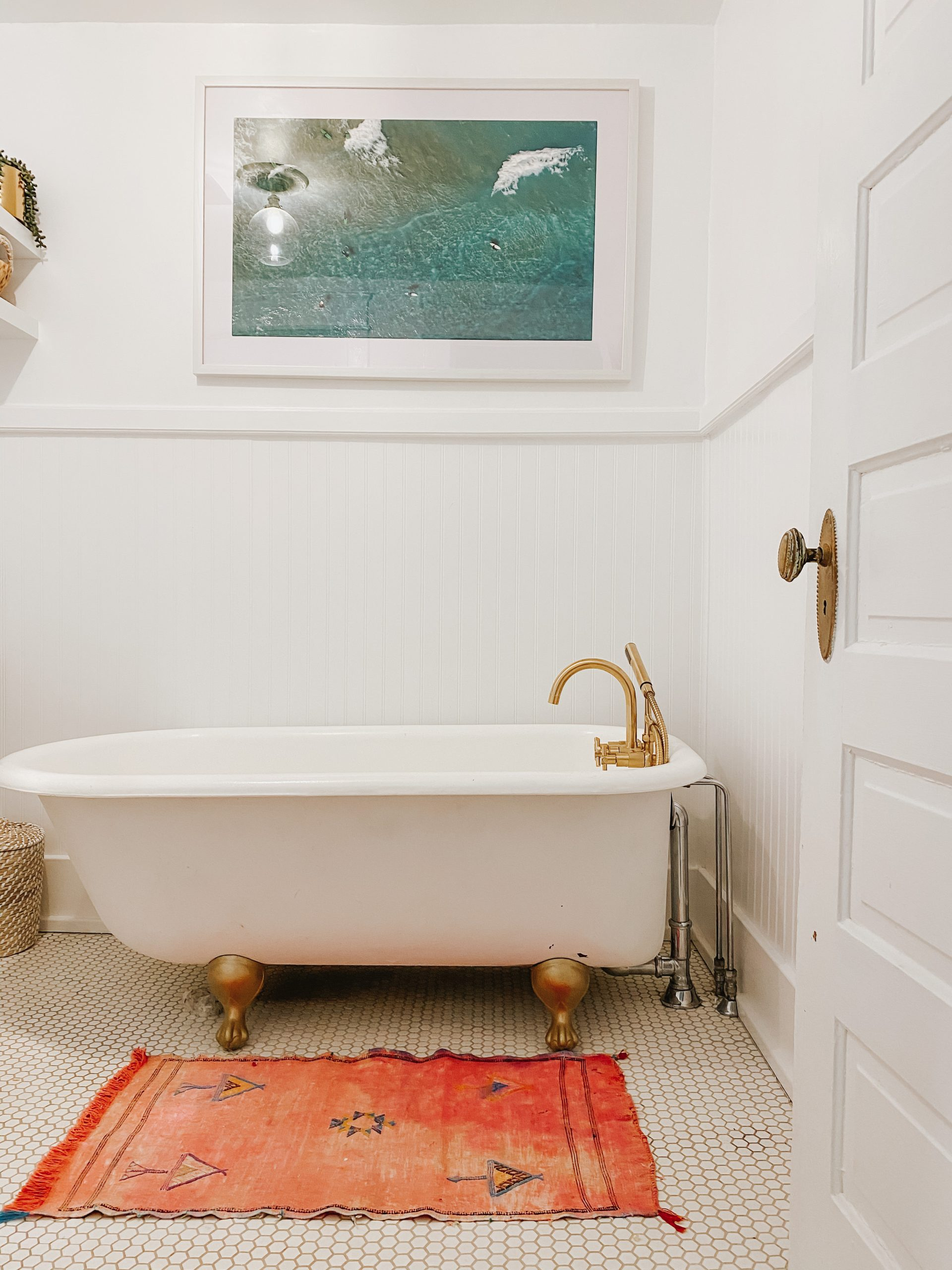 before & after: downstairs bathroom with clawfoot tub